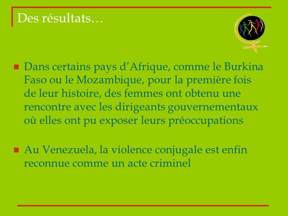 Des résultats… Dans certains pays dAfrique, comme le Burkina Faso ou le Mozambique, pour la première fois de leur histoire, des femmes ont obtenu une