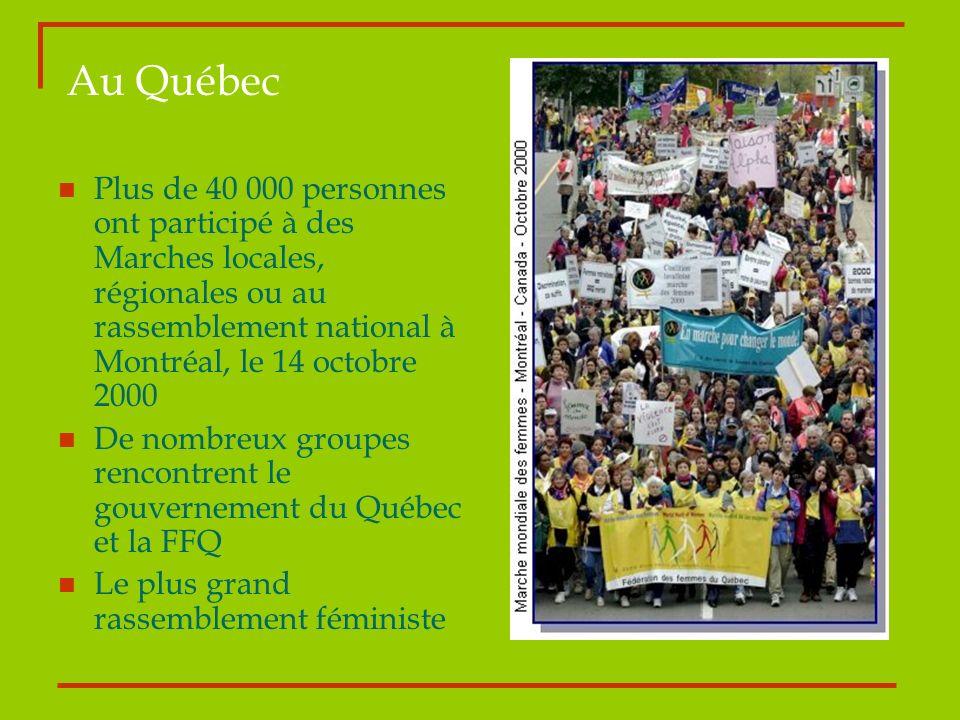Au Québec Plus de 40 000 personnes ont participé à des Marches locales, régionales ou au rassemblement national à Montréal, le 14 octobre 2000 De nomb