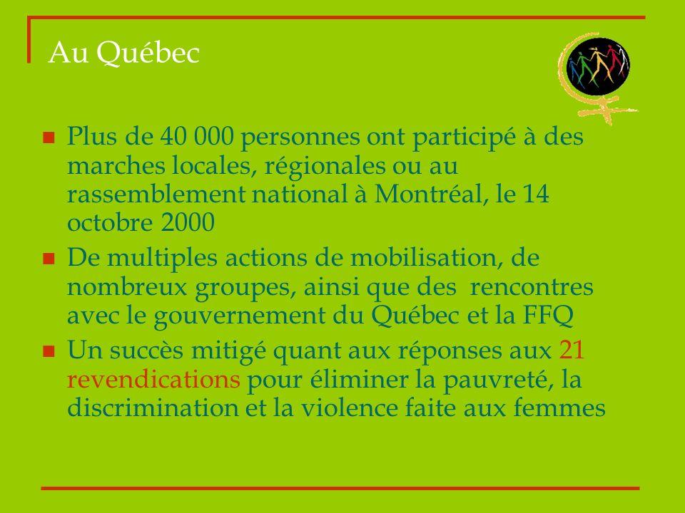 Au Québec Plus de 40 000 personnes ont participé à des marches locales, régionales ou au rassemblement national à Montréal, le 14 octobre 2000 De mult