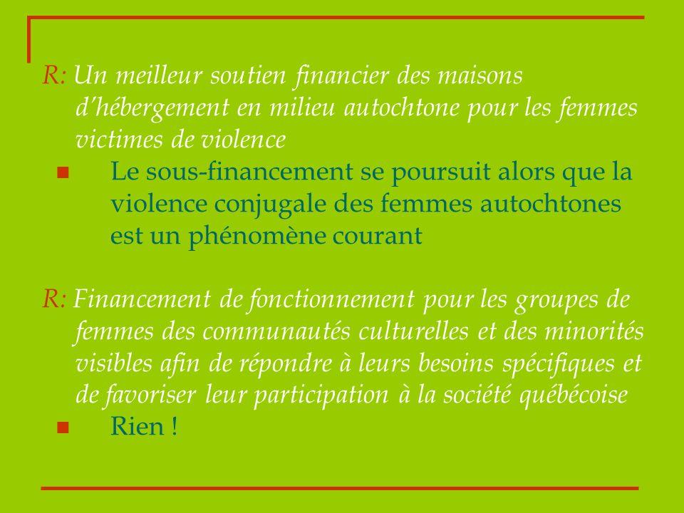 R: Un meilleur soutien financier des maisons dhébergement en milieu autochtone pour les femmes victimes de violence Le sous-financement se poursuit al