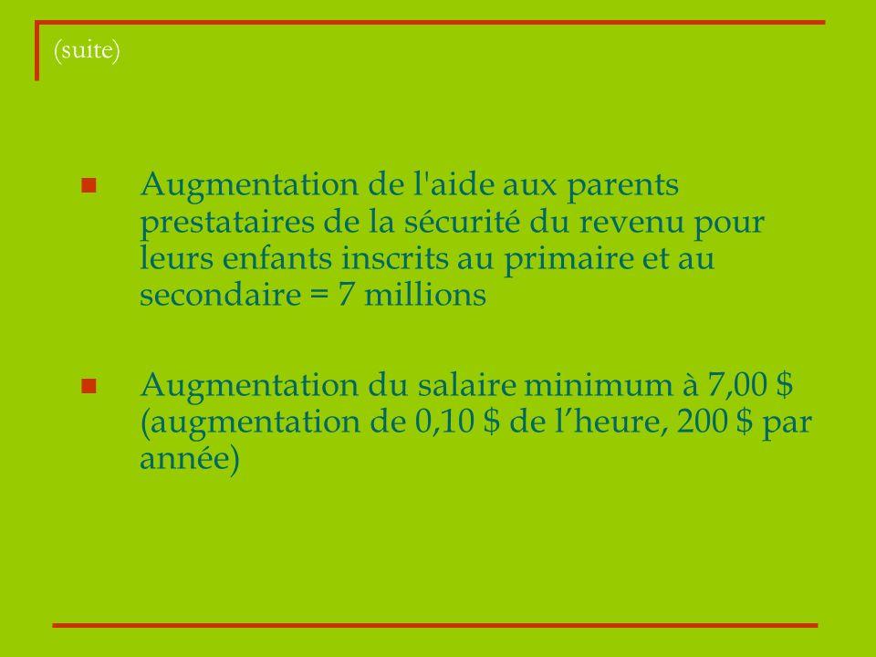 (suite) Augmentation de l'aide aux parents prestataires de la sécurité du revenu pour leurs enfants inscrits au primaire et au secondaire = 7 millions