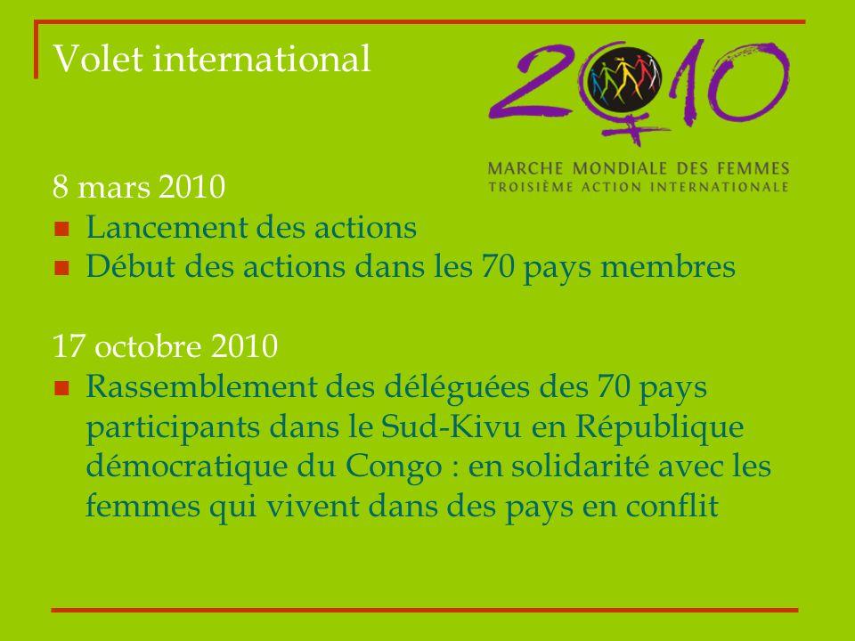 Volet international 8 mars 2010 Lancement des actions Début des actions dans les 70 pays membres 17 octobre 2010 Rassemblement des déléguées des 70 pa