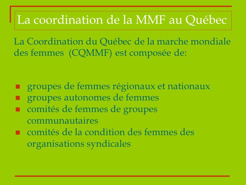 La coordination de la MMF au Québec La Coordination du Québec de la marche mondiale des femmes (CQMMF) est composée de: groupes de femmes régionaux et