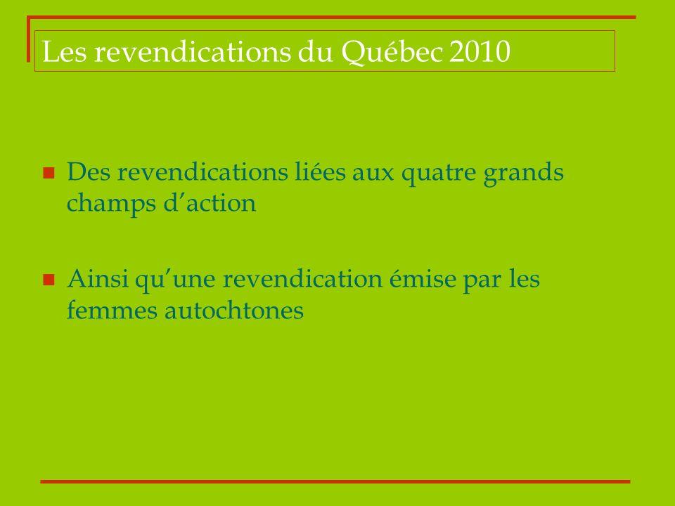 Les revendications du Québec 2010 Des revendications liées aux quatre grands champs daction Ainsi quune revendication émise par les femmes autochtones