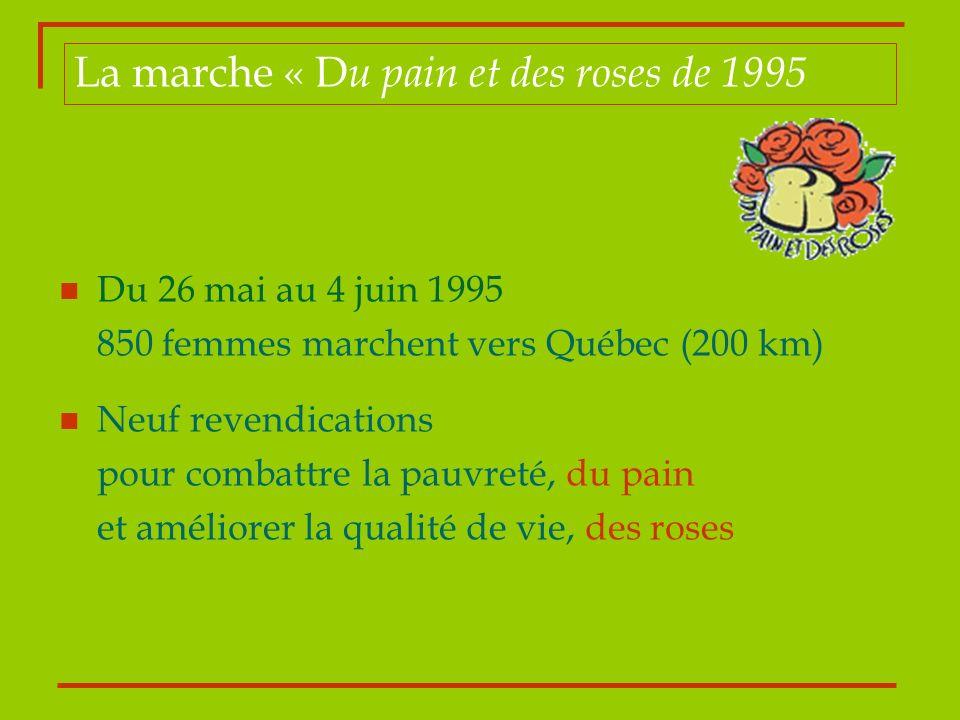 Du 26 mai au 4 juin 1995 850 femmes marchent vers Québec (200 km) Neuf revendications pour combattre la pauvreté, du pain et améliorer la qualité de v