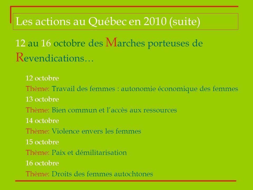 12 au 16 octobre des M arches porteuses de R evendications… 12 octobre Thème: Travail des femmes : autonomie économique des femmes 13 octobre Thème: B