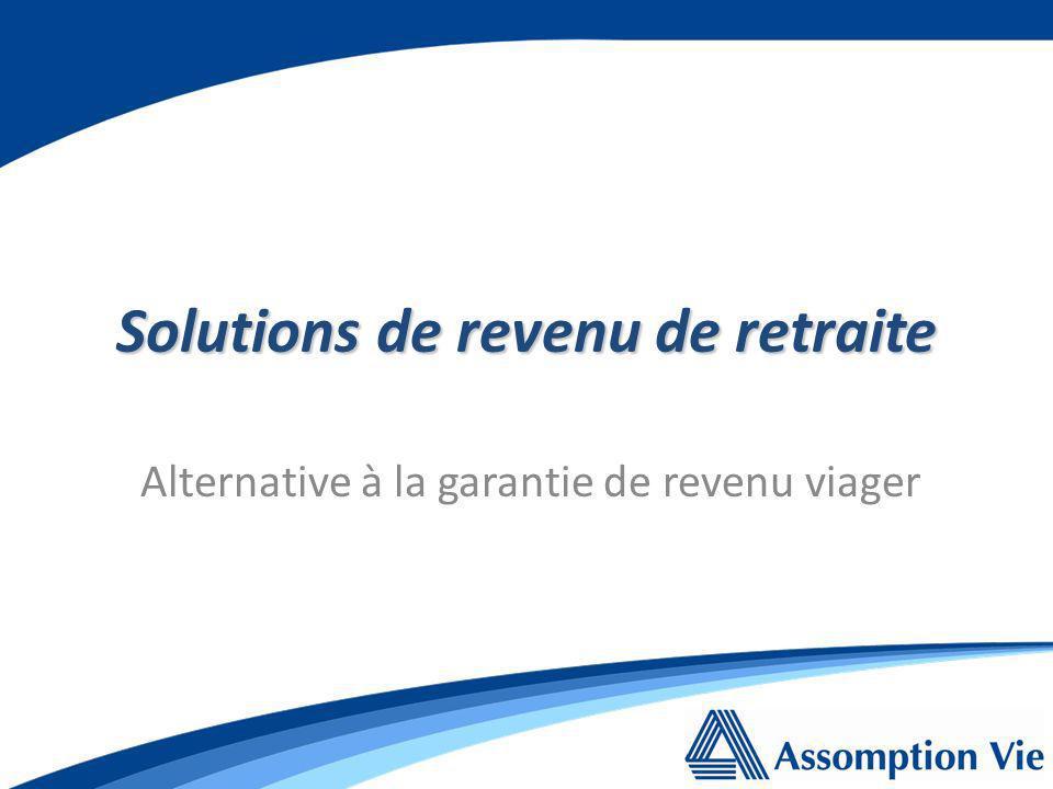 Alternative à la garantie de revenu viager Solutions de revenu de retraite