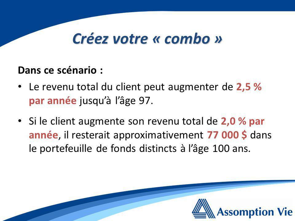 Créez votre « combo » Dans ce scénario : Le revenu total du client peut augmenter de 2,5 % par année jusquà lâge 97.