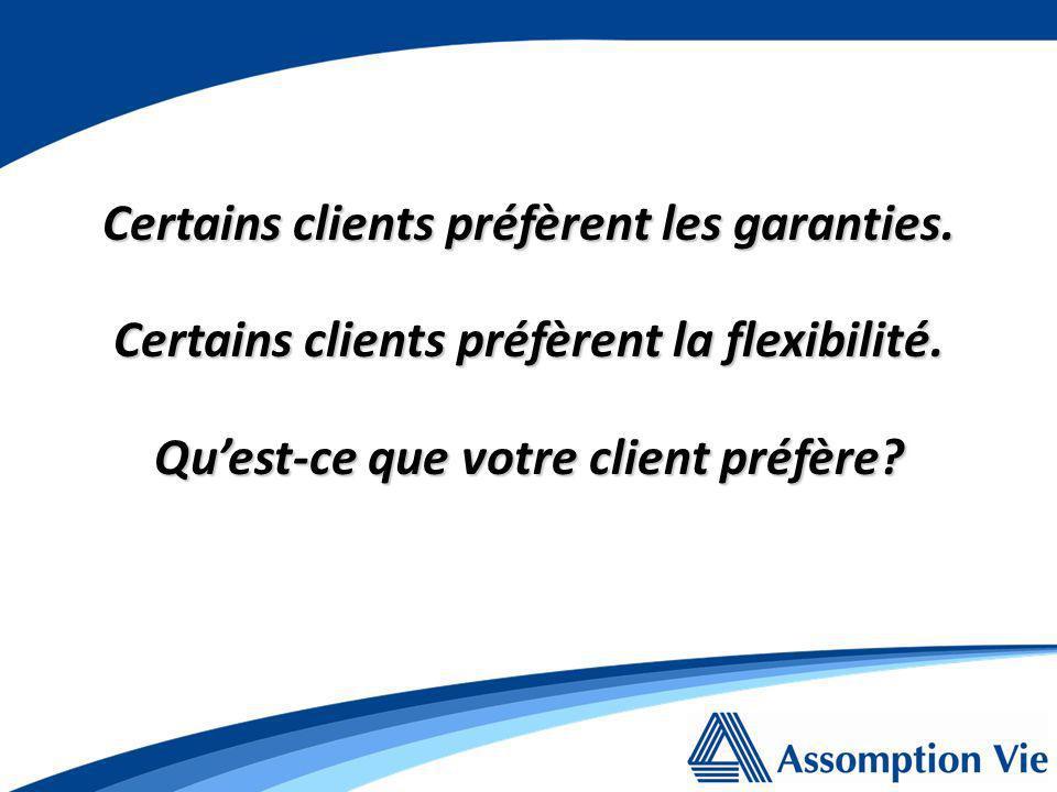 Certains clients préfèrent les garanties. Certains clients préfèrent la flexibilité.