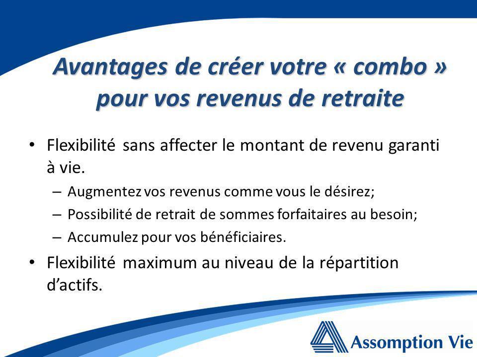 Avantages de créer votre « combo » pour vos revenus de retraite Flexibilité sans affecter le montant de revenu garanti à vie.