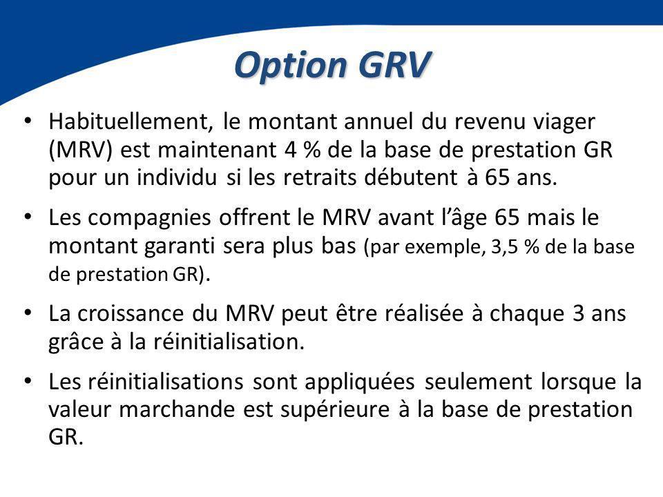 Option GRV Habituellement, le montant annuel du revenu viager (MRV) est maintenant 4 % de la base de prestation GR pour un individu si les retraits débutent à 65 ans.