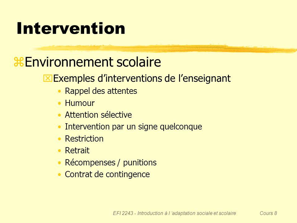 EFI 2243 - Introduction à l adaptation sociale et scolaire Cours 8 Intervention zEnvironnement scolaire xExemples dinterventions de lenseignant Rappel