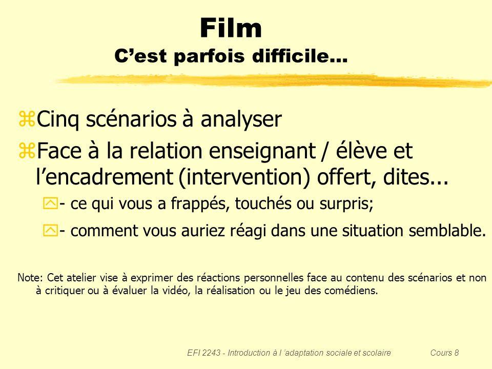 EFI 2243 - Introduction à l adaptation sociale et scolaire Cours 8 Film Cest parfois difficile… zCinq scénarios à analyser zFace à la relation enseign