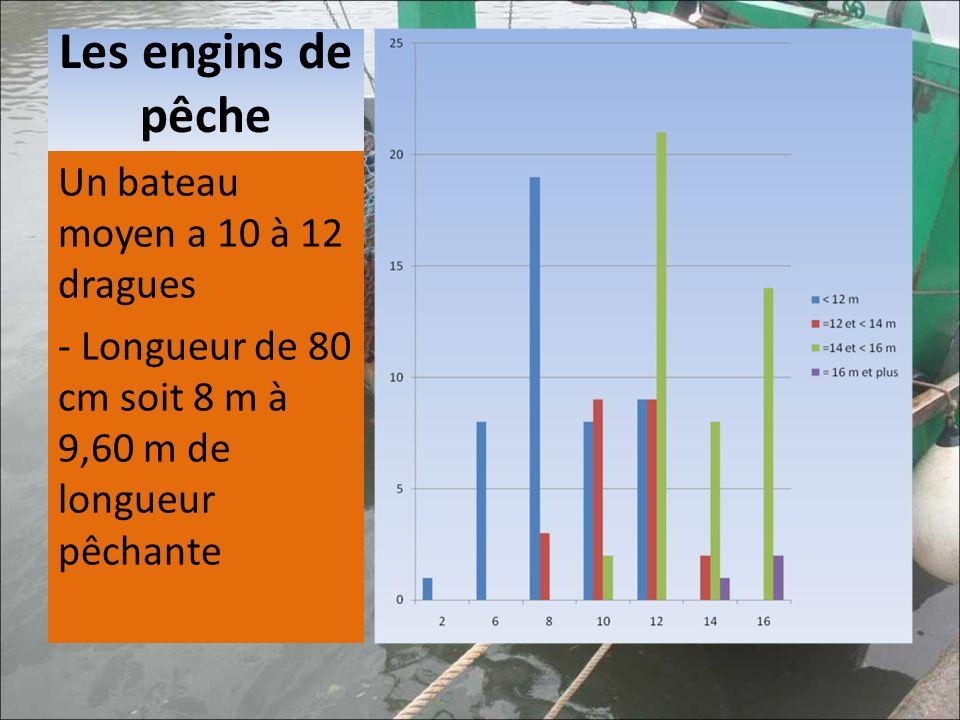 Un bateau moyen a 10 à 12 dragues - Longueur de 80 cm soit 8 m à 9,60 m de longueur pêchante
