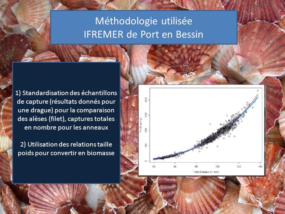 Méthodologie utilisée IFREMER de Port en Bessin 1) Standardisation des échantillons de capture (résultats donnés pour une drague) pour la comparaison des alèses (filet), captures totales en nombre pour les anneaux 2) Utilisation des relations taille poids pour convertir en biomasse