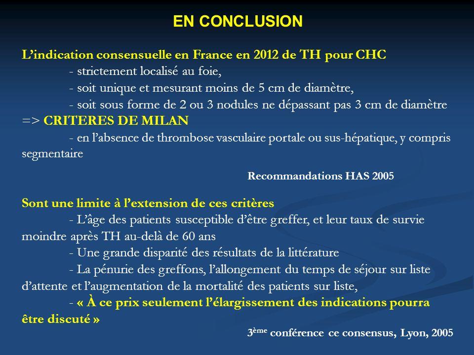 EN CONCLUSION Lindication consensuelle en France en 2012 de TH pour CHC - strictement localisé au foie, - soit unique et mesurant moins de 5 cm de dia