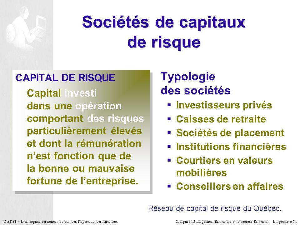 Chapitre 13 La gestion financière et le secteur financier Diapositive 11 © ERPI – Lentreprise en action, 2e édition.