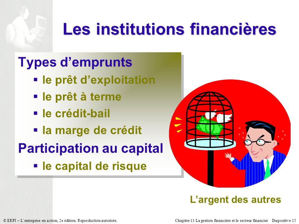 Chapitre 13 La gestion financière et le secteur financier Diapositive 15 © ERPI – Lentreprise en action, 2e édition.