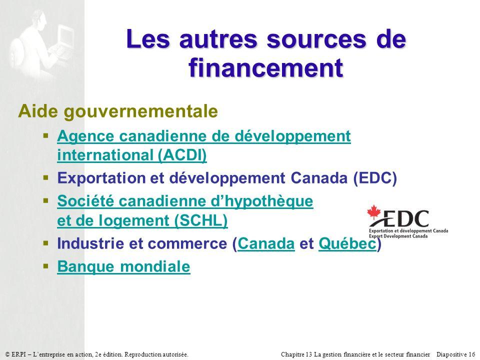 Chapitre 13 La gestion financière et le secteur financier Diapositive 16 © ERPI – Lentreprise en action, 2e édition.