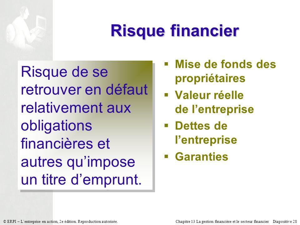 Chapitre 13 La gestion financière et le secteur financier Diapositive 28 © ERPI – Lentreprise en action, 2e édition.
