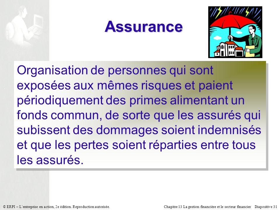 Chapitre 13 La gestion financière et le secteur financier Diapositive 31 © ERPI – Lentreprise en action, 2e édition.