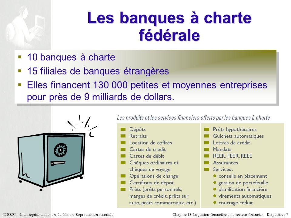 Chapitre 13 La gestion financière et le secteur financier Diapositive 7 © ERPI – Lentreprise en action, 2e édition.