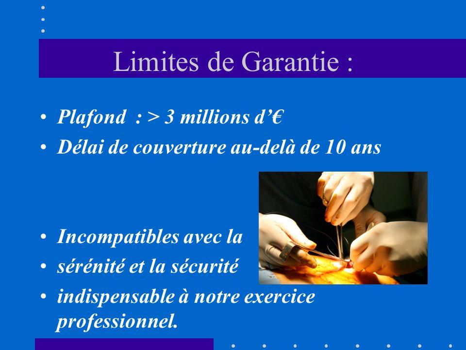 Limites de Garantie : Plafond : > 3 millions d Délai de couverture au-delà de 10 ans Incompatibles avec la sérénité et la sécurité indispensable à notre exercice professionnel.