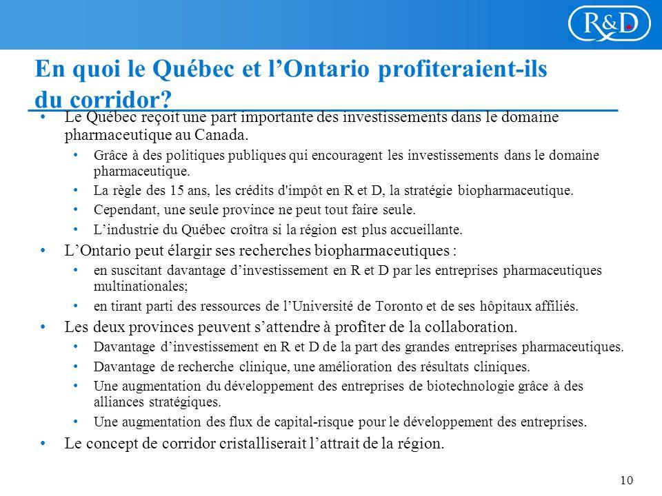 10 En quoi le Québec et lOntario profiteraient-ils du corridor.