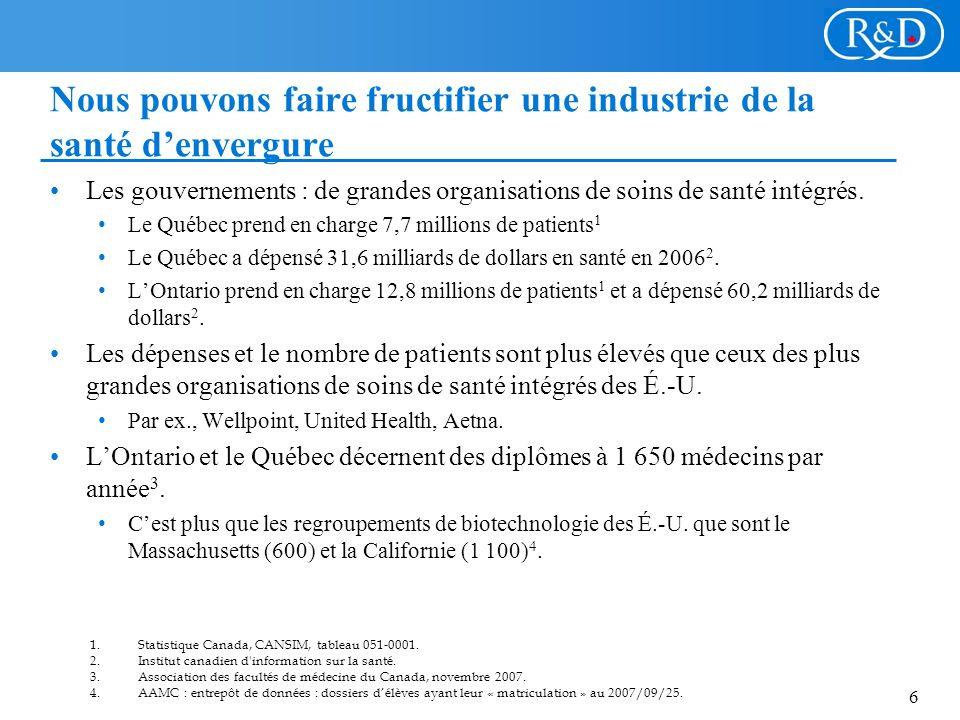 6 Nous pouvons faire fructifier une industrie de la santé denvergure Les gouvernements : de grandes organisations de soins de santé intégrés.