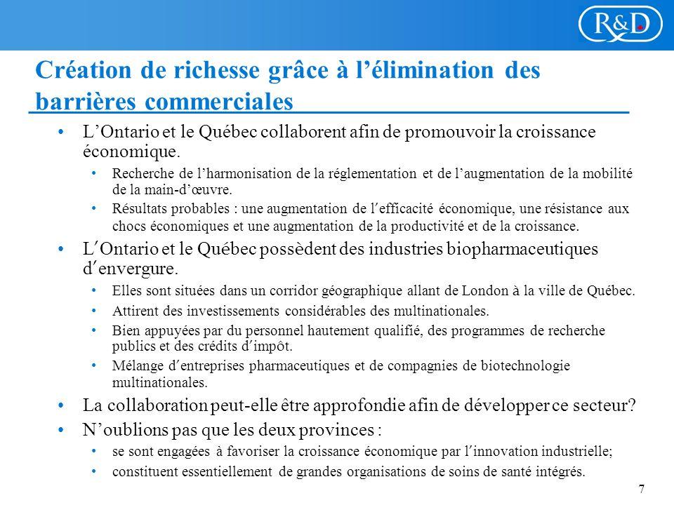 7 Création de richesse grâce à lélimination des barrières commerciales LOntario et le Québec collaborent afin de promouvoir la croissance économique.