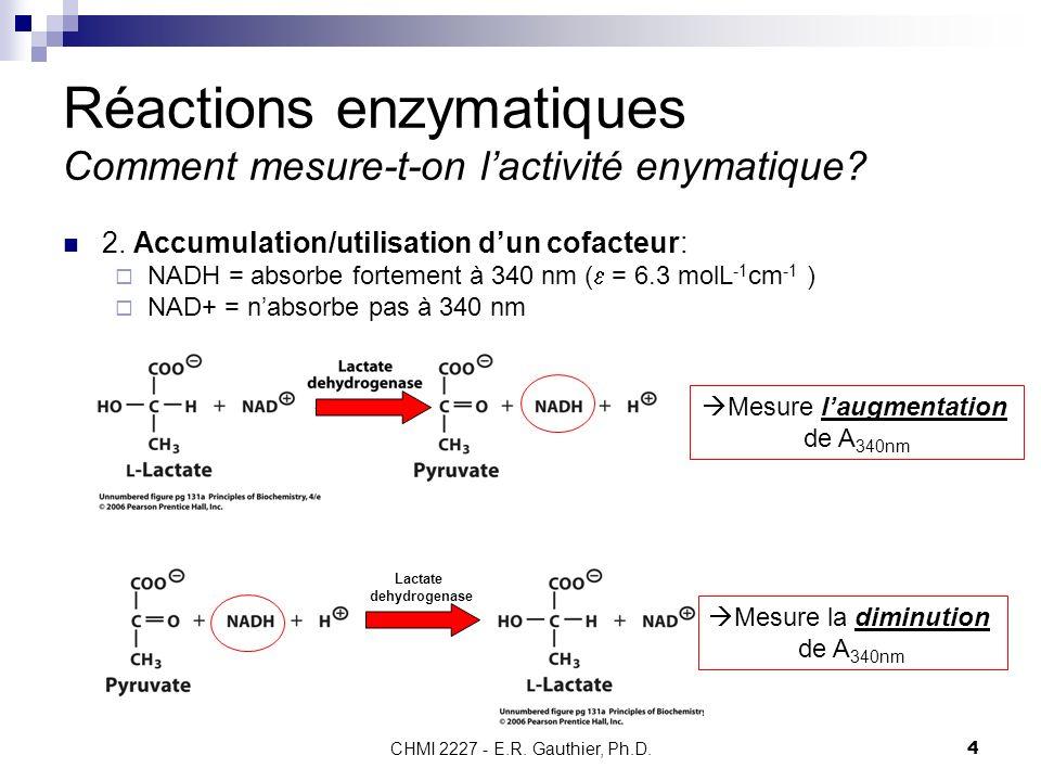 CHMI 2227 - E.R. Gauthier, Ph.D.4 Réactions enzymatiques Comment mesure-t-on lactivité enymatique? 2. Accumulation/utilisation dun cofacteur: NADH = a