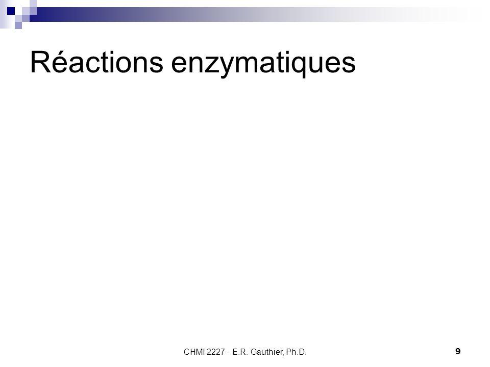 CHMI 2227 - E.R. Gauthier, Ph.D.9 Réactions enzymatiques