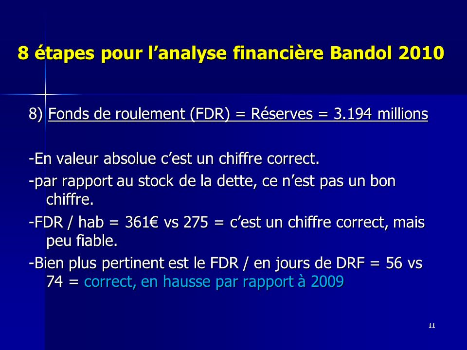 11 8 étapes pour lanalyse financière Bandol 2010 8) Fonds de roulement (FDR) = Réserves = 3.194 millions -En valeur absolue cest un chiffre correct.