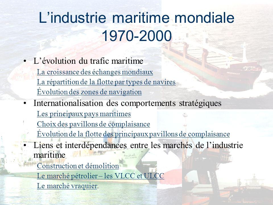 La croissance des échanges mondiaux Évolution du trafic maritime entre 1960 et 2000 par type de cargaison en millions de tonnes Année Pétrole et produits pétroliers Vracs majeurs Autres marchandises sèches Total tous produits confondus 19605402283121 080 20002 1491 2571 8245 230