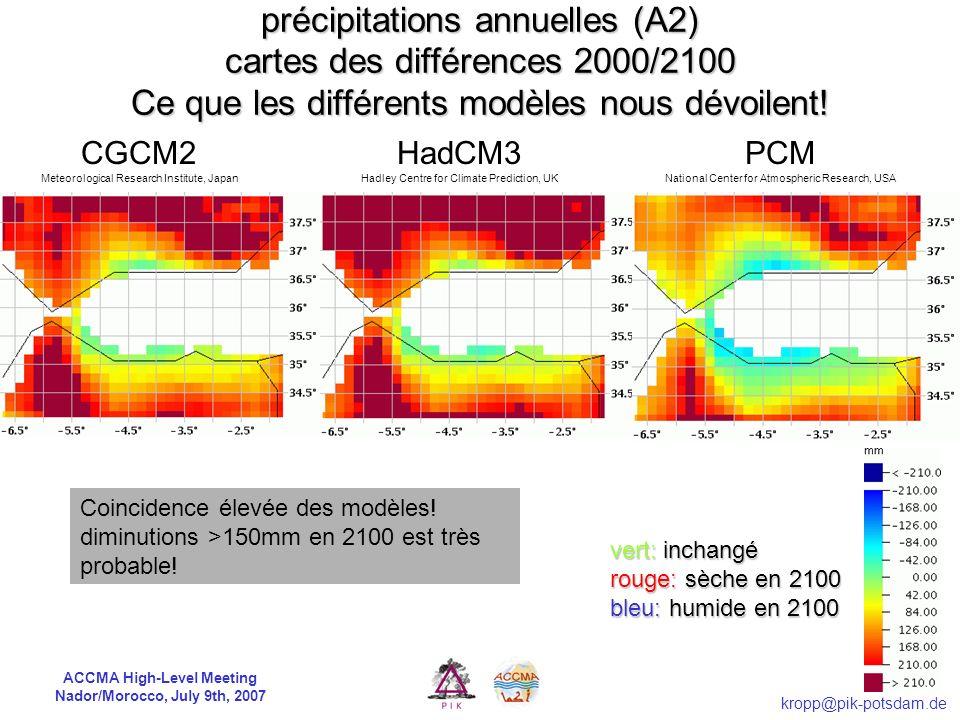 ACCMA High-Level Meeting Nador/Morocco, July 9th, 2007 kropp@pik-potsdam.de Que pouvons-nous anticiper pour le 21 e siècle?