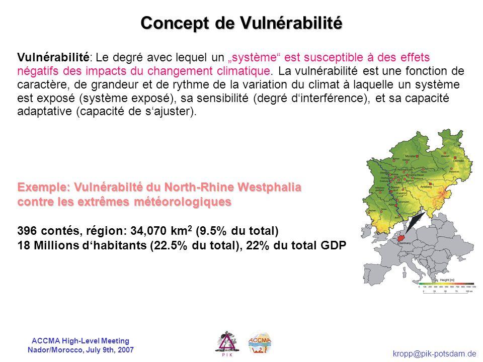 ACCMA High-Level Meeting Nador/Morocco, July 9th, 2007 kropp@pik-potsdam.de CHANGEMENT CLIMATIQUE Interférence humaine VULNÉRABILITÉS Effets des impac