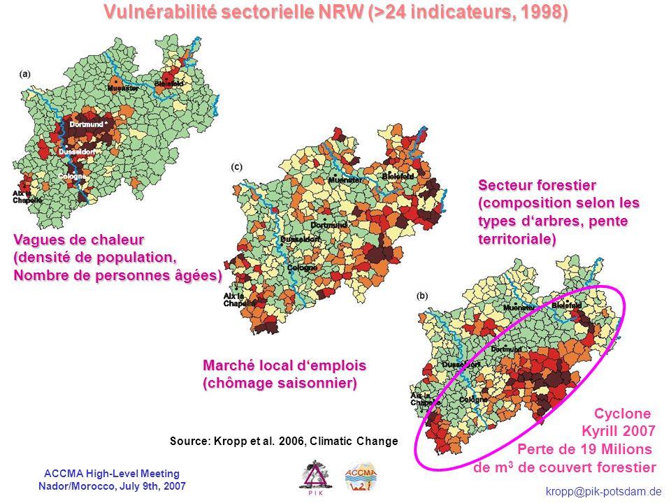 ACCMA High-Level Meeting Nador/Morocco, July 9th, 2007 kropp@pik-potsdam.de Concept de Vulnérabilité Vulnérabilité: Le degré avec lequel un système es