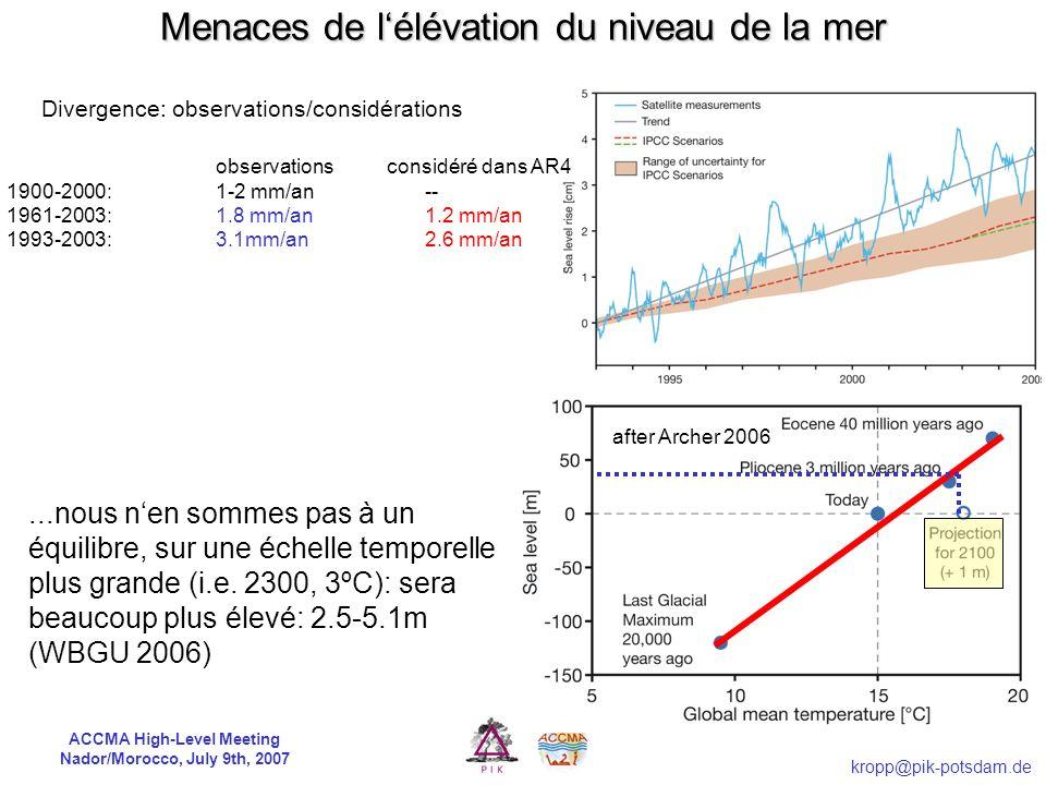 ACCMA High-Level Meeting Nador/Morocco, July 9th, 2007 kropp@pik-potsdam.de Les côtes marocaines sont-elles menacées?