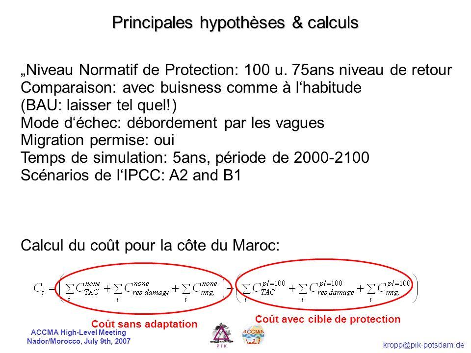 ACCMA High-Level Meeting Nador/Morocco, July 9th, 2007 kropp@pik-potsdam.de Vulnérabilité côtière Risques & Coûts de lélévation du niveau de la mer DI