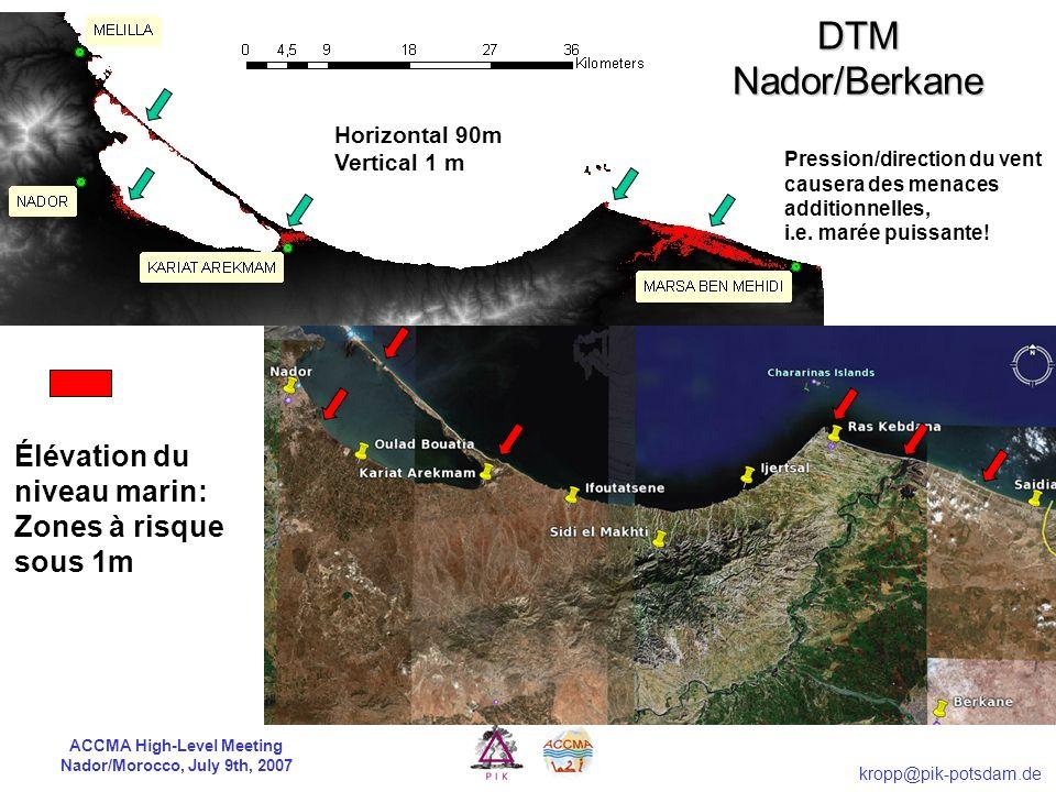 ACCMA High-Level Meeting Nador/Morocco, July 9th, 2007 kropp@pik-potsdam.de Calculs du coût: BAU vs. Cible de protection Pertes A2: piste actuelle Jus