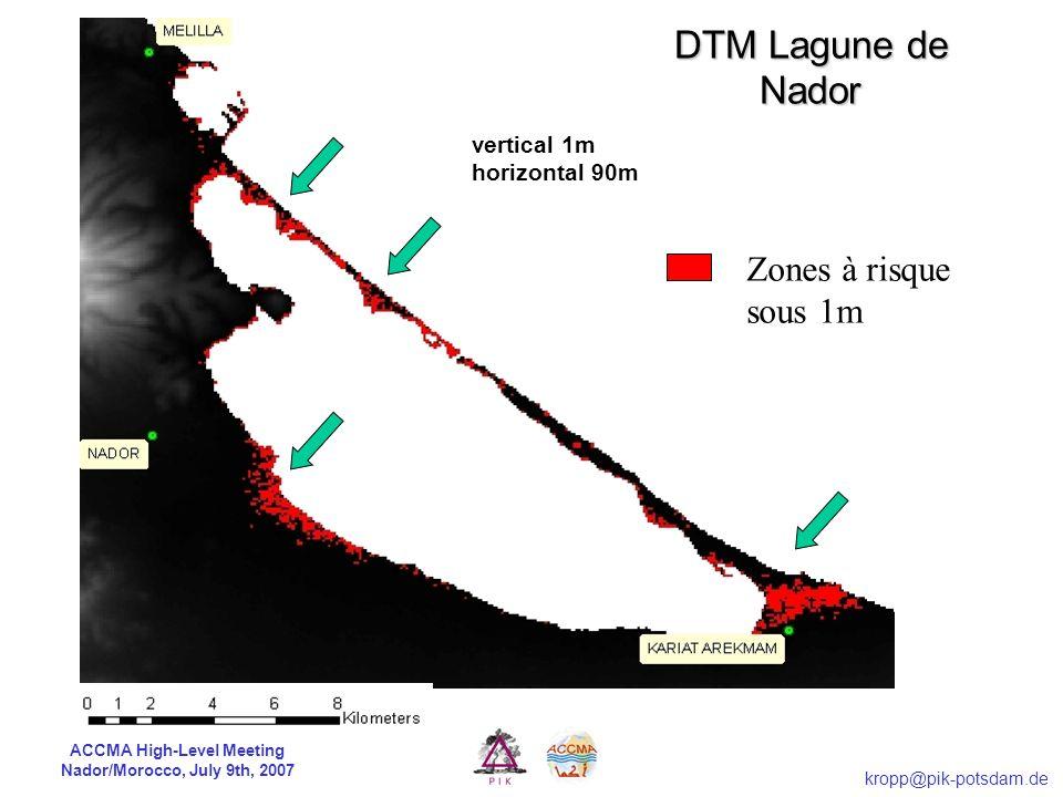 ACCMA High-Level Meeting Nador/Morocco, July 9th, 2007 kropp@pik-potsdam.de Zones à risque sous 1m vertical 1m horizontal 90m Modèle digital de terrai