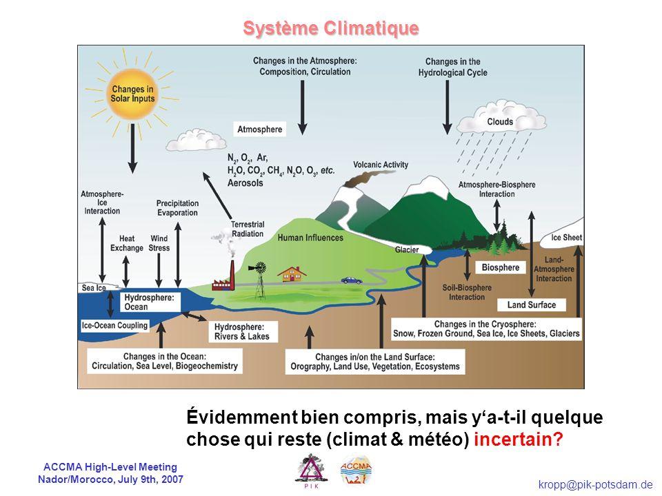 ACCMA High-Level Meeting Nador/Morocco, July 9th, 2007 kropp@pik-potsdam.de Système Climatique Évidemment bien compris, mais ya-t-il quelque chose qui reste (climat & météo) incertain?
