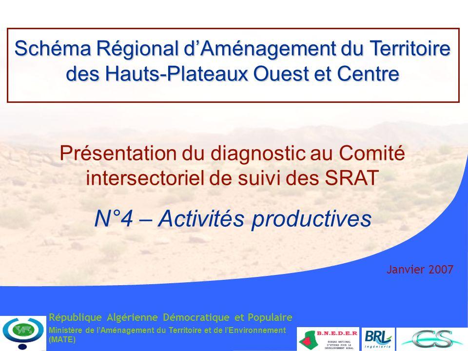 Ministère de lAménagement du Territoire et de lEnvironnement (MATE) Janvier 2007 Schéma Régional dAménagement du Territoire des Hauts-Plateaux Ouest e