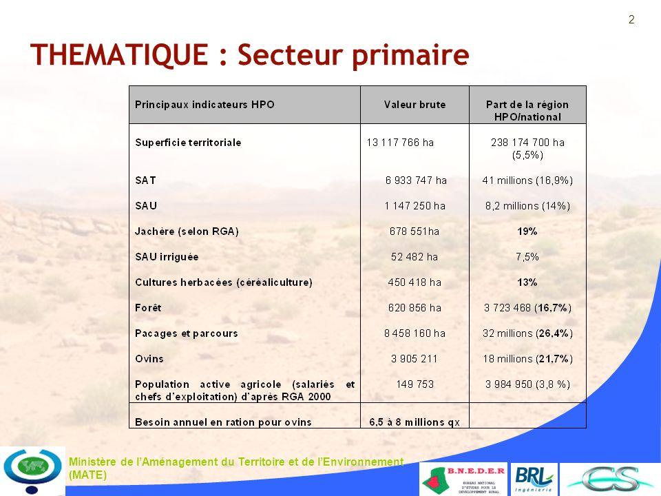 2 Ministère de lAménagement du Territoire et de lEnvironnement (MATE) THEMATIQUE : Secteur primaire