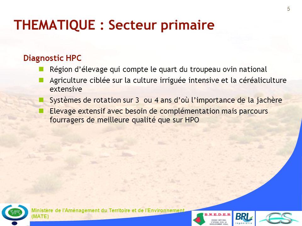 5 Ministère de lAménagement du Territoire et de lEnvironnement (MATE) THEMATIQUE : Secteur primaire Diagnostic HPC Région délevage qui compte le quart