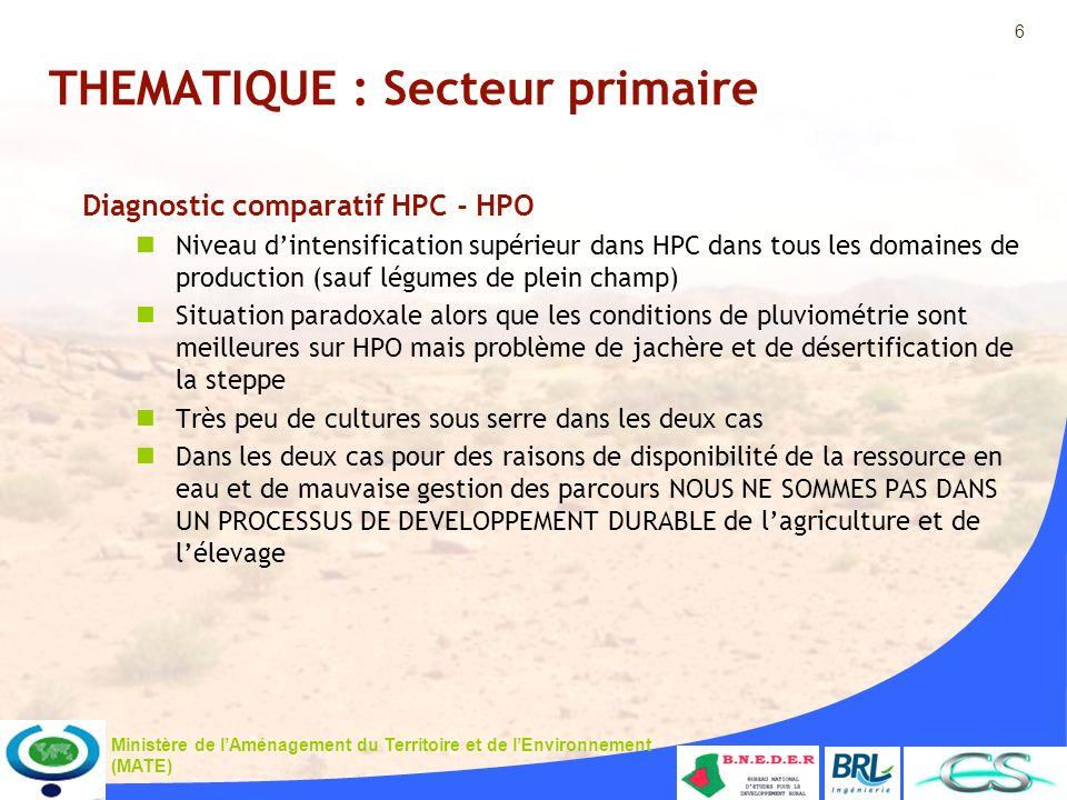 6 Ministère de lAménagement du Territoire et de lEnvironnement (MATE) THEMATIQUE : Secteur primaire Diagnostic comparatif HPC - HPO Niveau dintensific
