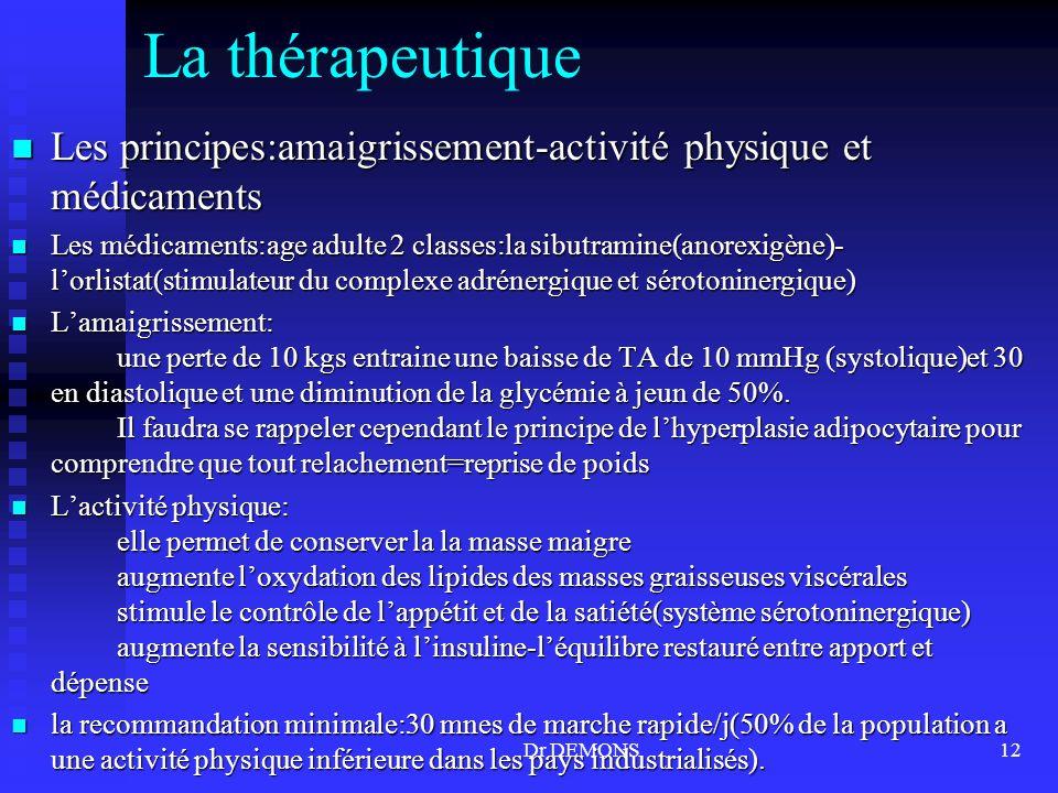 Dr DEMONS12 La thérapeutique Les principes:amaigrissement-activité physique et médicaments Les principes:amaigrissement-activité physique et médicamen