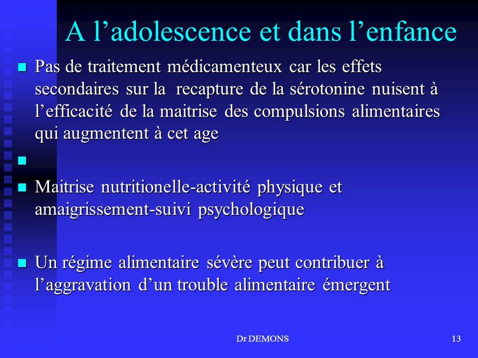 Dr DEMONS13 A ladolescence et dans lenfance Pas de traitement médicamenteux car les effets secondaires sur la recapture de la sérotonine nuisent à lef