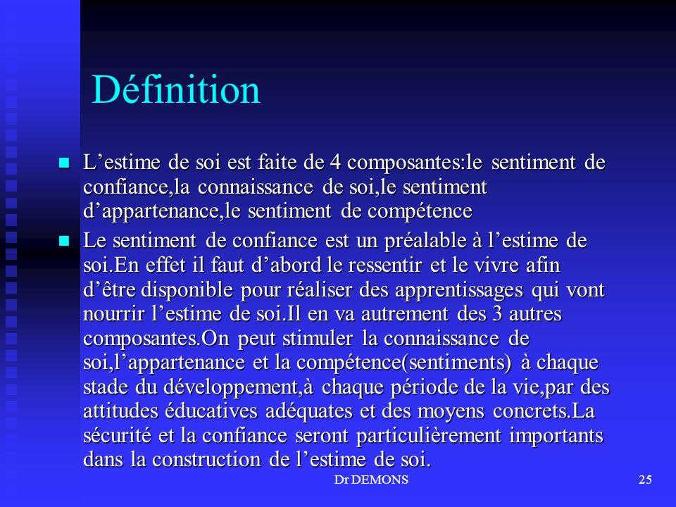 Dr DEMONS25 Définition Lestime de soi est faite de 4 composantes:le sentiment de confiance,la connaissance de soi,le sentiment dappartenance,le sentim