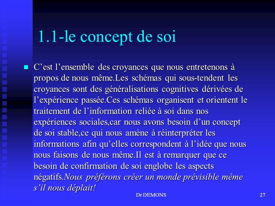 Dr DEMONS27 1.1-le concept de soi Cest lensemble des croyances que nous entretenons à propos de nous même.Les schémas qui sous-tendent les croyances s